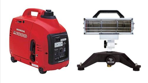 Portable ground light and generator combo (Honda eu1000i & 750 watt ground light)