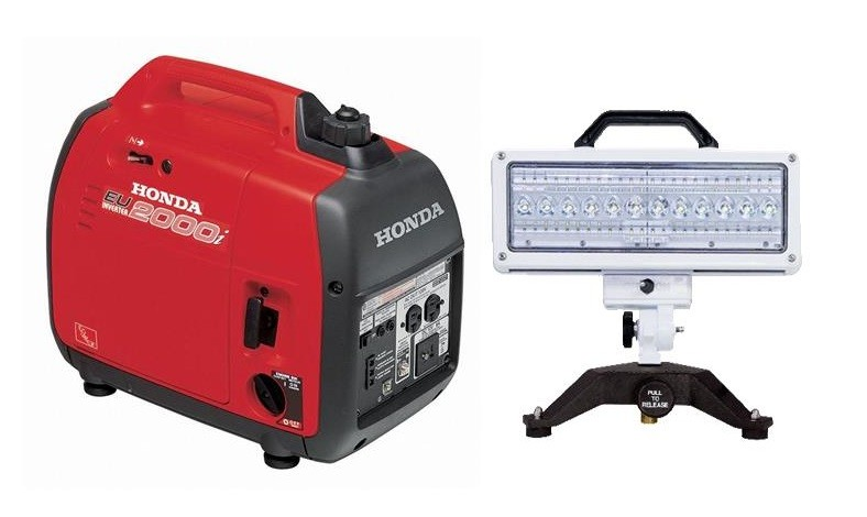 Portable LED ground light and generator combo (Honda eu2000i & Spectra LED ground light)
